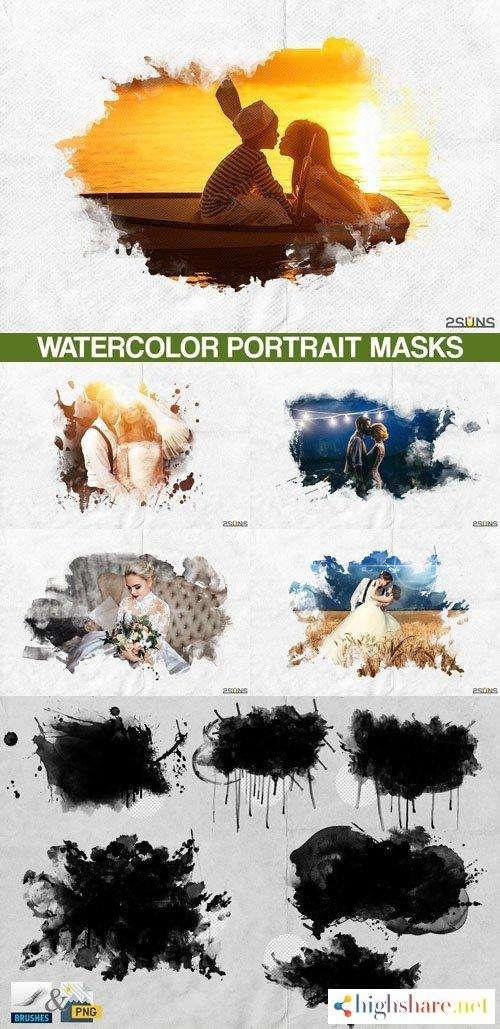 20 watercolor portrait paint masks photo framse photoshop overlays 5f4735ecc2f19 - 20 Watercolor Portrait Paint Masks, Photo Framse, Photoshop Overlays