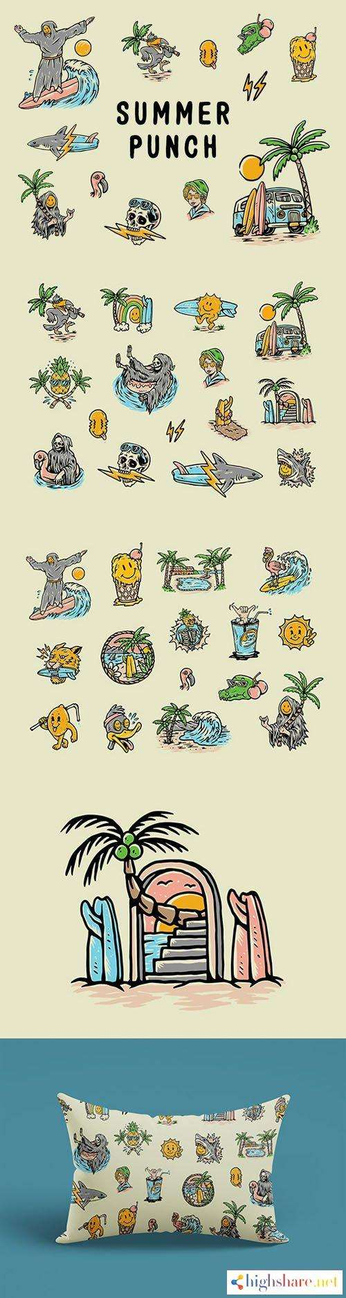 30 summer punch hand drawn illustrations 5f452ee390782 - 30 Summer Punch Hand-drawn Illustrations