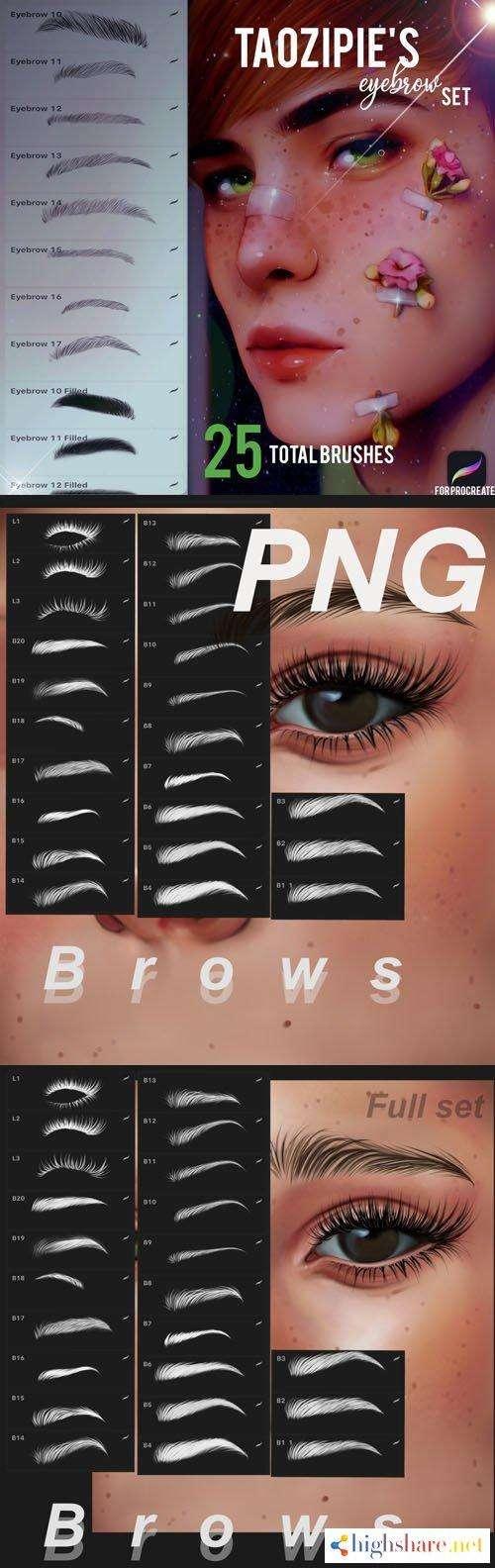 48 eyebrow procreate brush set pngs 5f473572838c3 - 48 Eyebrow Procreate Brush Set + PNGs