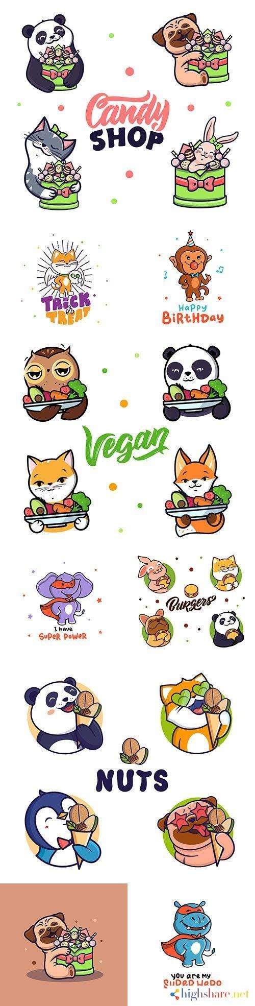 animal cute cartoon emblem and logos design 5f412ec18688a - Animal cute cartoon emblem and logos design