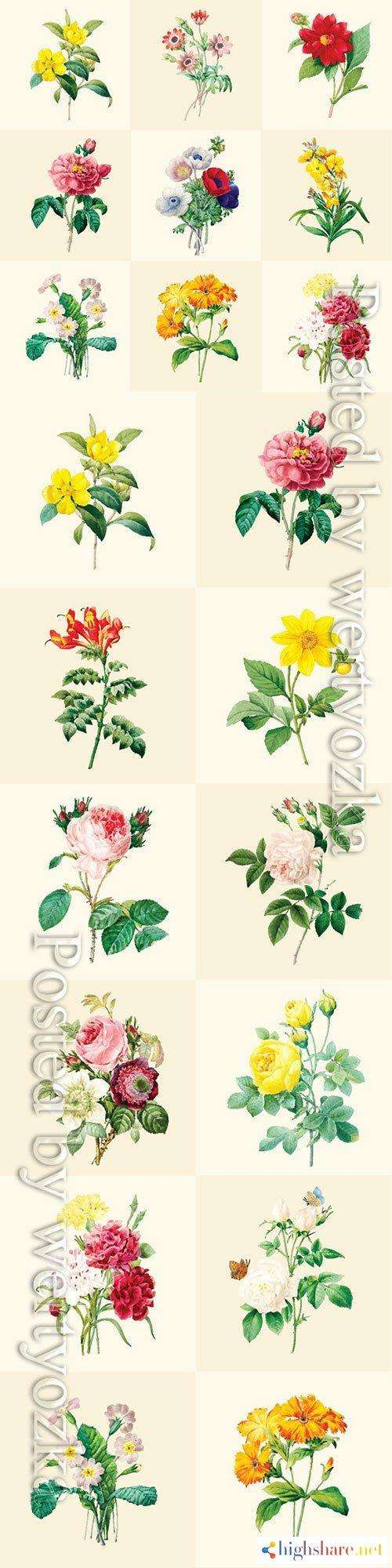 beautiful blooming flowers in vector 5f41e5c00561e - Beautiful blooming flowers in vector