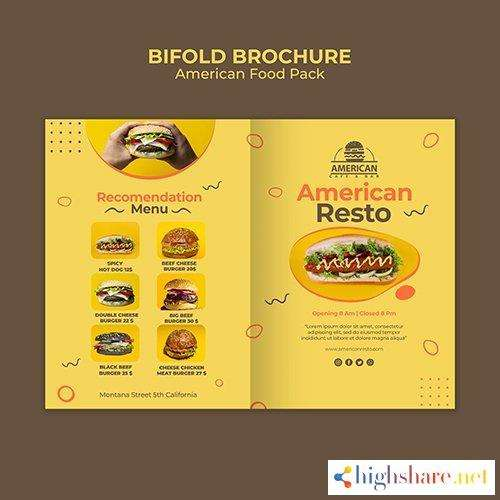 bifold brochure psd template american food pack 5f41f122e5edb - Bifold Brochure PSD Template American Food Pack