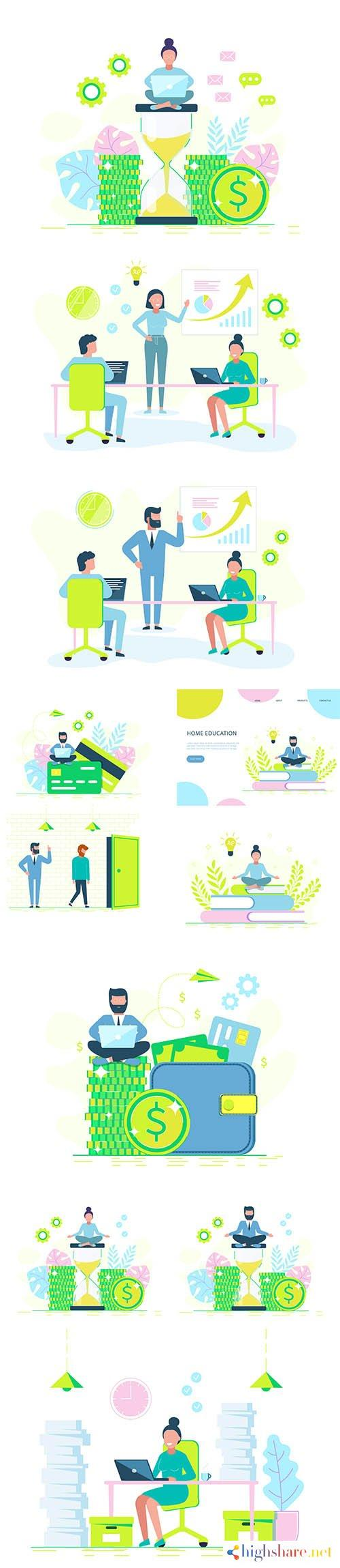 buisness concept illustration office work and study 5f400062590b0 - Buisness Concept Illustration Office Work and Study