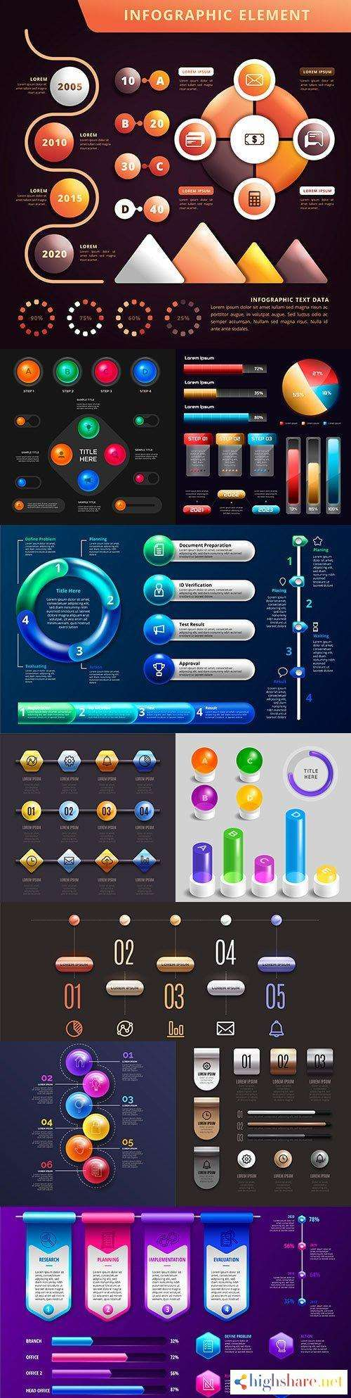 business infographics 3d glossy design collection 7 5f41d6e694a20 - Business infographics 3d glossy design collection 7