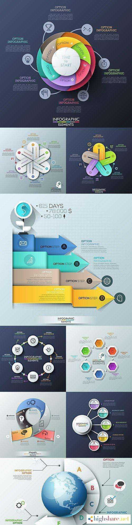 business infographics options elements collection 148 5f41d7739d666 - Business infographics options elements collection 148