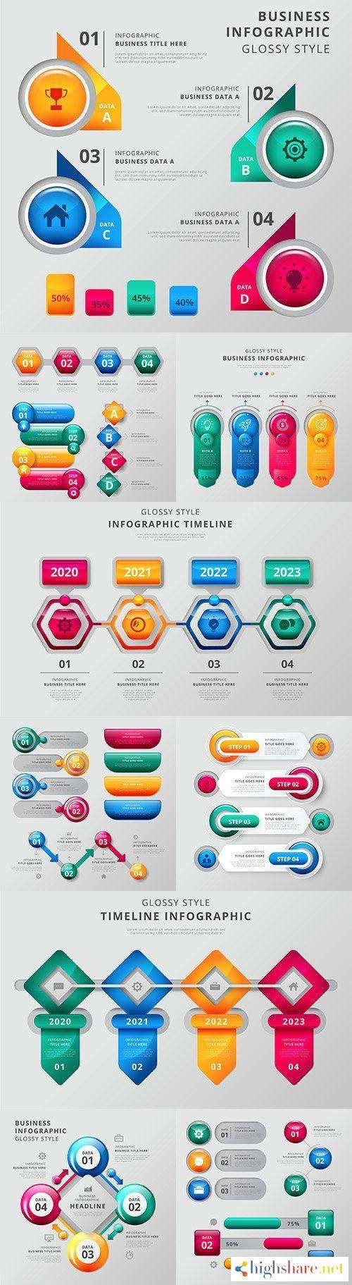 business infographics options elements collection 150 5f41d74ecb783 - Business infographics options elements collection 150