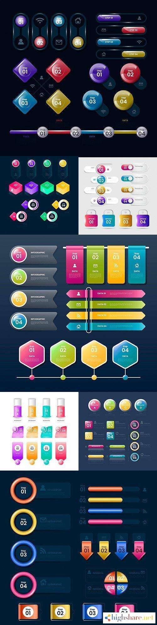 business infographics options elements collection 152 5f41d6166fcca - Business infographics options elements collection 152
