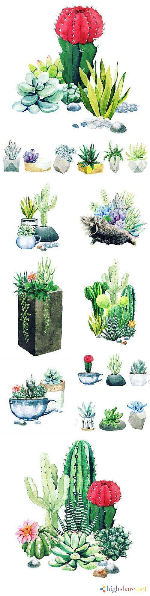 cacti and succulents composition from potted watercolor plants 5f41e62fddce9 - Cacti and succulents composition from potted watercolor plants