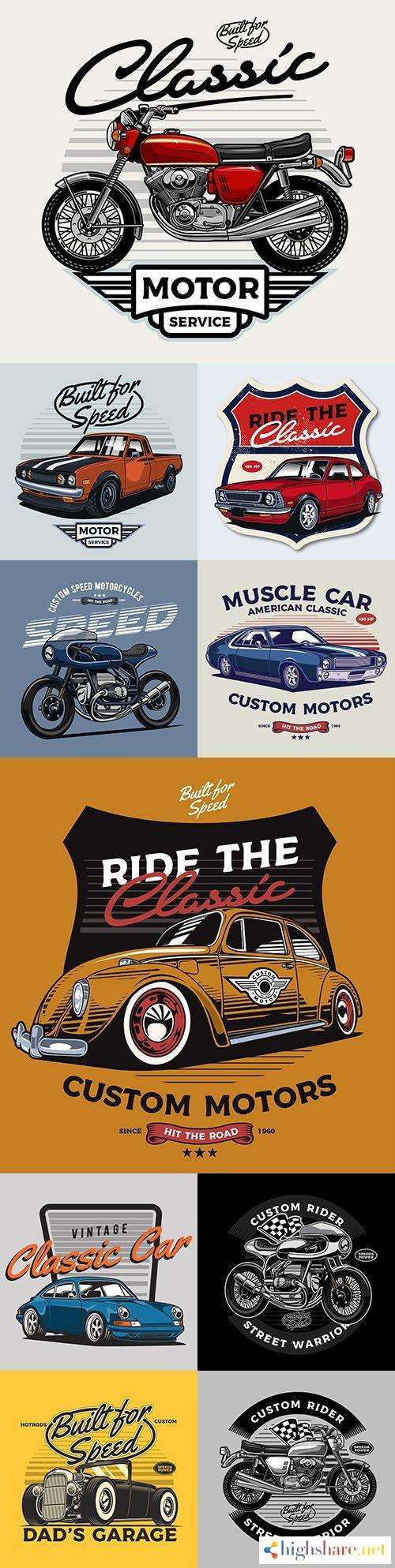 classic car and vintage motorcycle illustrations 5f43c226a3920 - Classic car and vintage motorcycle illustrations