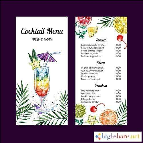 cocktail menu watercolor template design 5f41ff597287a - Cocktail menu watercolor template design