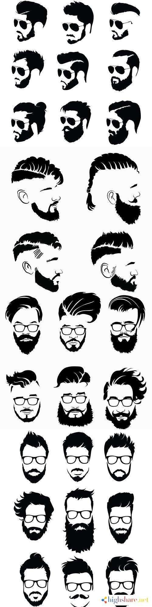 collection black hairstyle silhouettes and beards for men 5f4228e36e91f - Collection black hairstyle silhouettes and beards for men