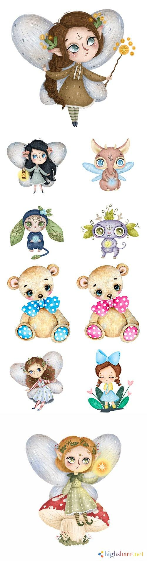 cute little forest fairy with magic wand and funny characters 5f3febaa5a869 - Cute little forest fairy with magic wand and funny characters