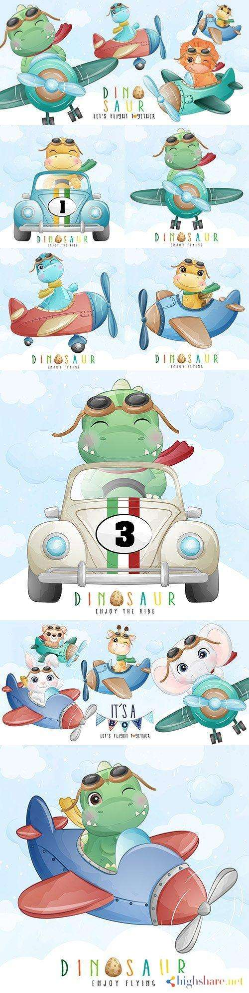 dinosaur by car and airplane watercolor illustrations 5f412ee6738cb - Dinosaur by car and airplane watercolor illustrations
