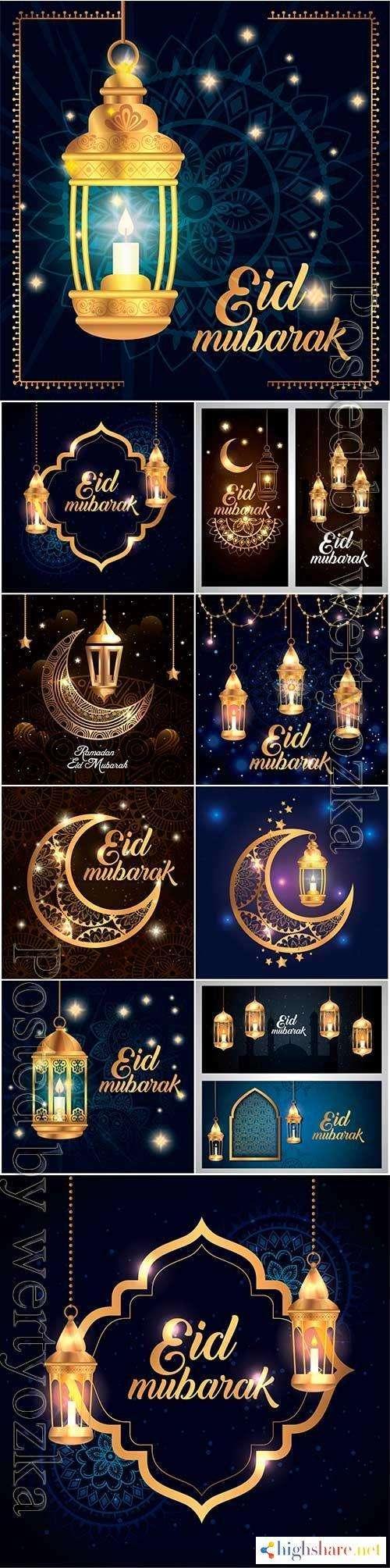 eid mubarak poster with lantern hanging and decoration vector illustration 5f438378a53a2 - Eid mubarak poster with lantern hanging and decoration vector illustration