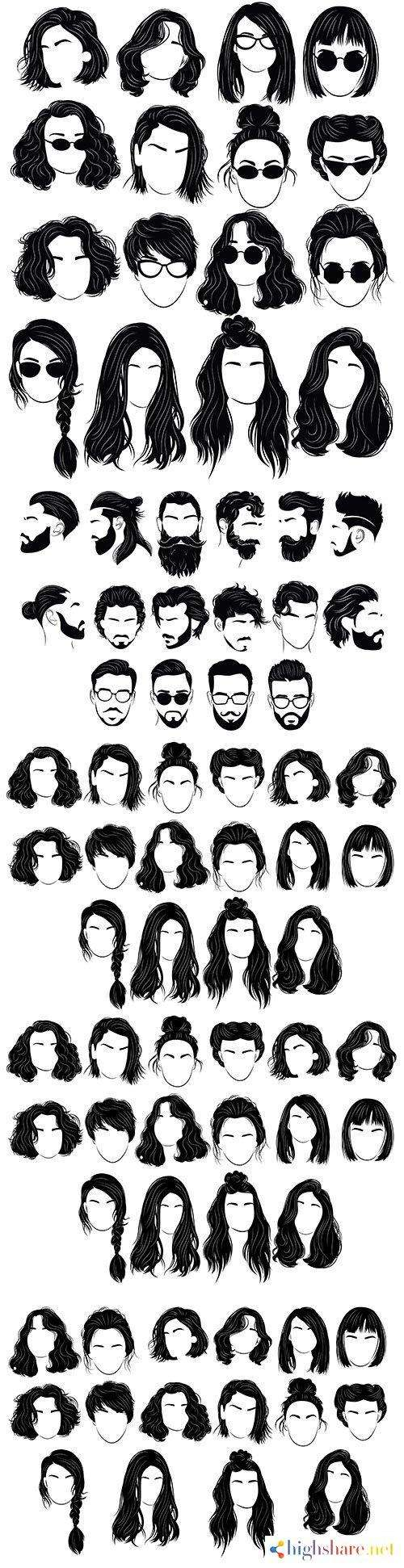 female and male hairstyle design silhouettes 5f42292bd7056 - Female and male hairstyle design silhouettes