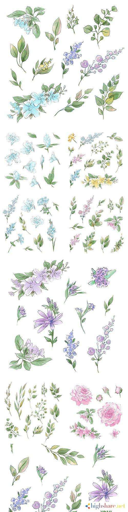 flowers and twigs with leaves watercolor design illustrations 5f41e7079c847 - Flowers and twigs with leaves watercolor design illustrations
