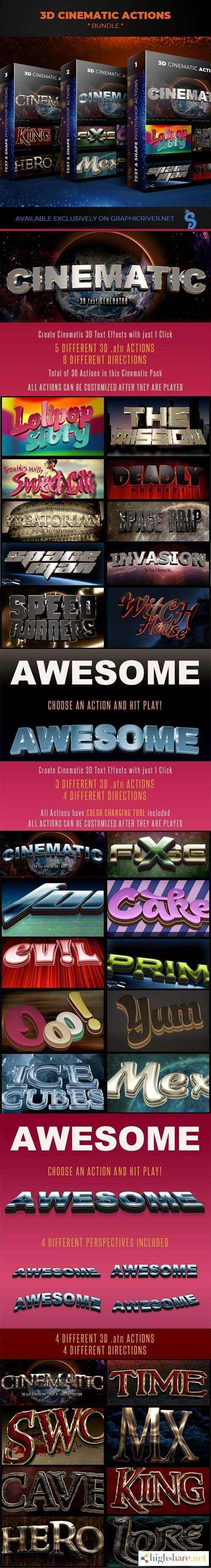 graphicriver 3d cinematic actions bundle 3 packages 5f4a0e800da19 - GraphicRiver - 3D Cinematic Actions Bundle - 3 Packages