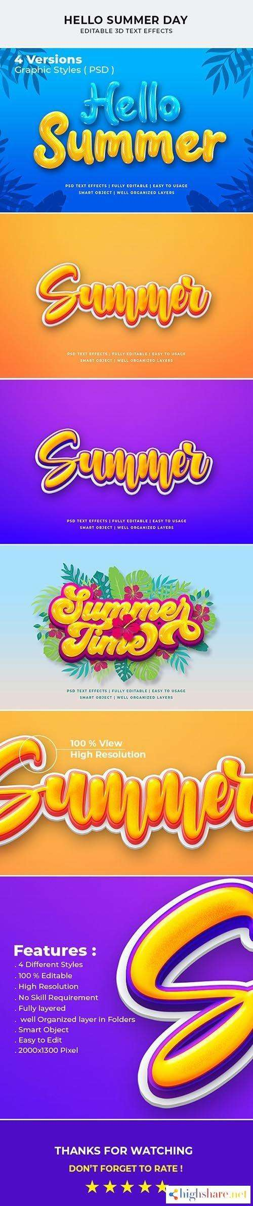 graphicriver hello summer day 3d text style effect 27668919 5f49c13ba2ab9 - GraphicRiver - Hello Summer Day 3d Text Style Effect 27668919