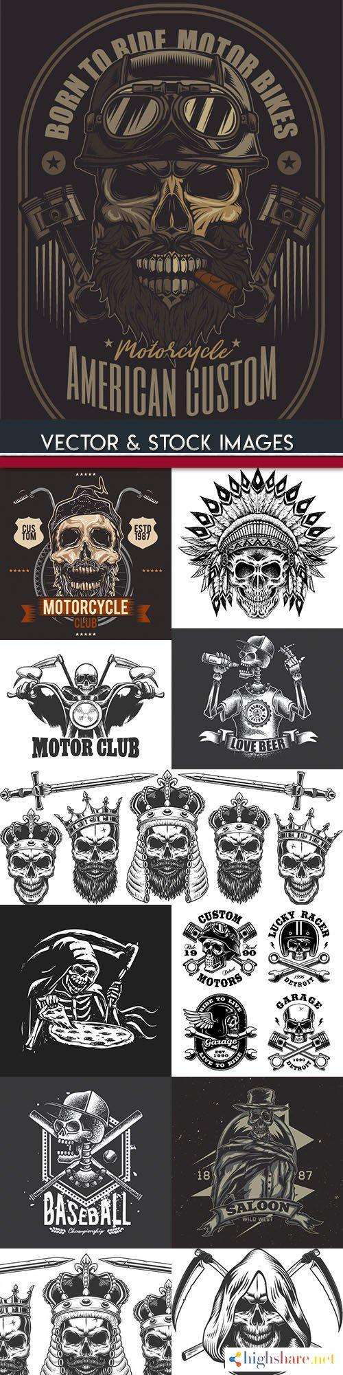 grunge skull and motorcycle design template 2 5f427140387d4 - Grunge skull and motorcycle design template 2