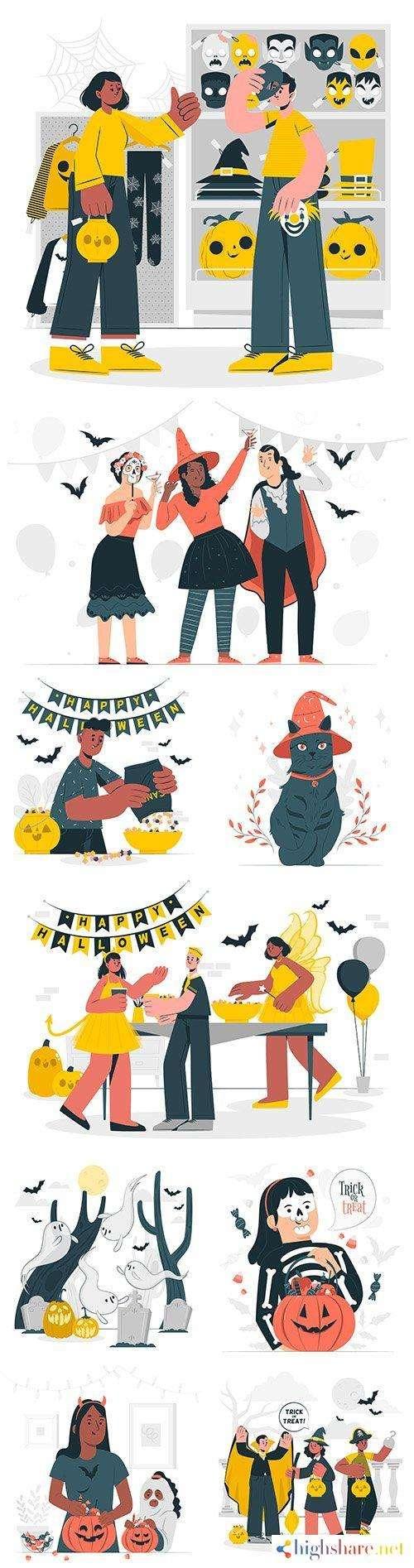 halloween party flat design illustrations 5f452e27d99f2 - Halloween party flat design illustrations