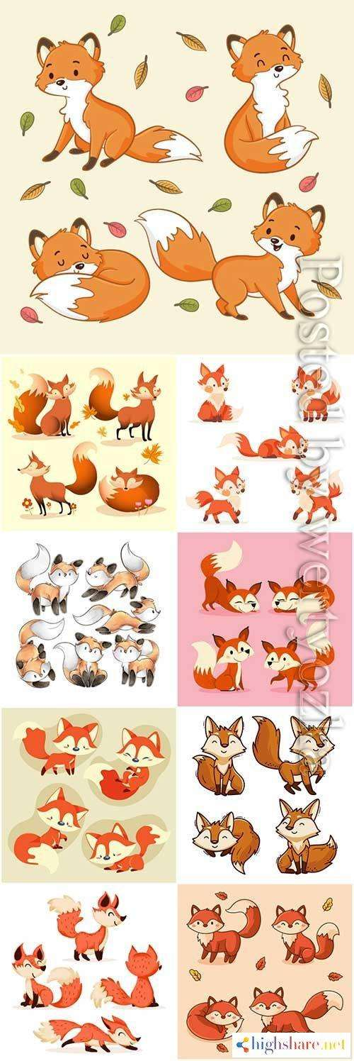hand drawn fox collection vector illustration 5f412f53bb8ce - Hand drawn fox collection vector illustration