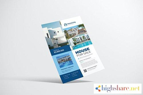 house property flyer design with blue color 5f4099db1bf62 - House Property Flyer Design with Blue Color