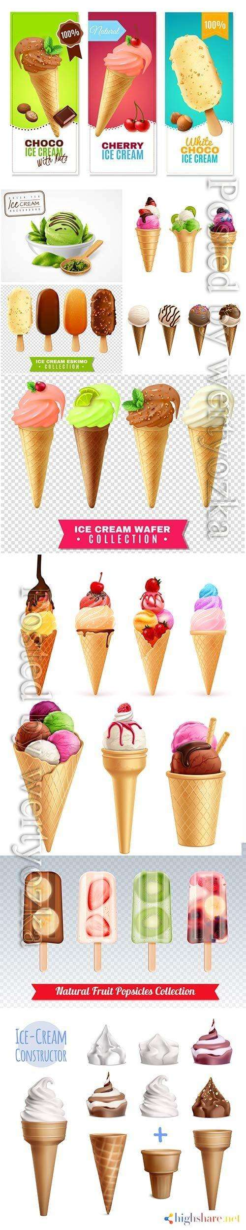 ice cream with fruits and berries vector illustration 5f4200ee3f3b1 - Ice cream with fruits and berries vector illustration