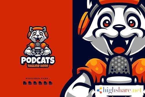 podcast cats cartoon logo 5f430d4dab9dd - Podcast cats Cartoon Logo