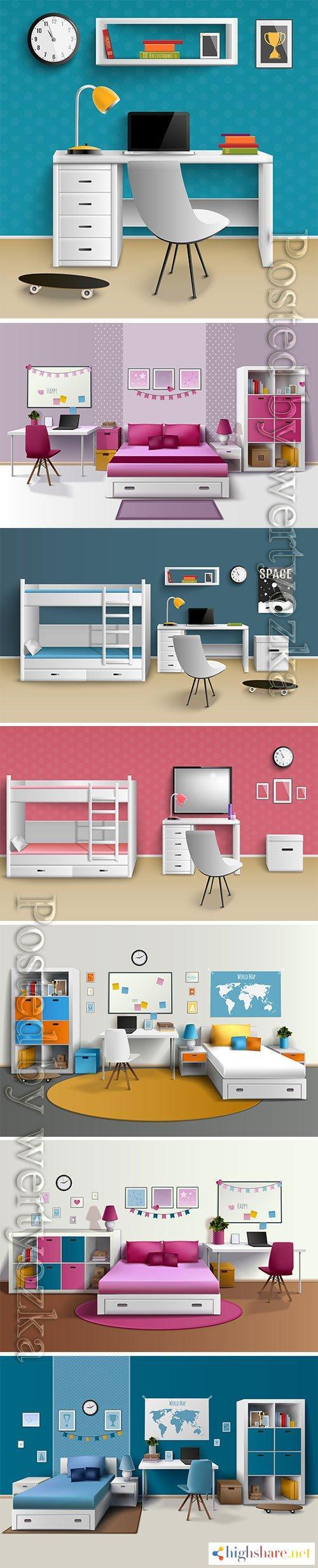 realistic home interior vector template 6 5f3feb4c9472f - Realistic home interior vector template # 6