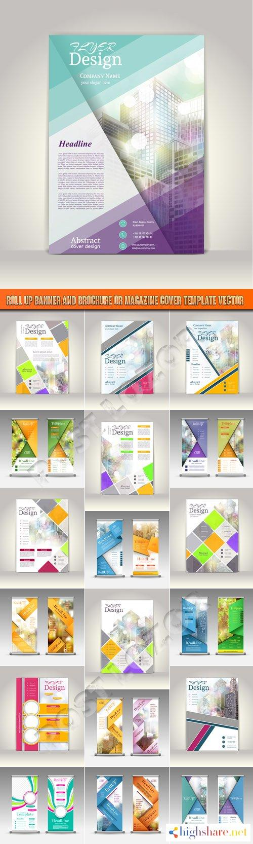 roll up banner and brochure or magazine cover template vector 5f3fb9fb83ea6 - Roll up banner and brochure or magazine cover template vector