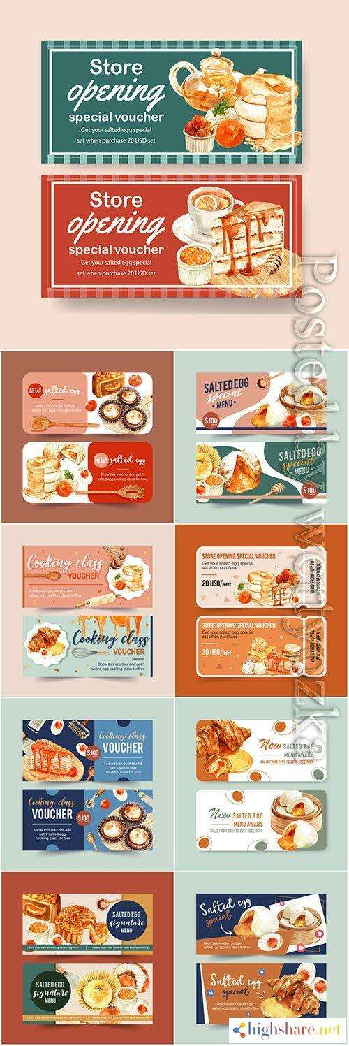 salted egg voucher design with tea pancake watercolor vector illustration 5f41fec8e1ae4 - Salted egg voucher design with tea, pancake watercolor vector illustration