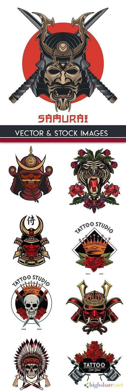 samurai and skull vintage design tattoo 5f4271f52f9f3 - Samurai and skull vintage design tattoo