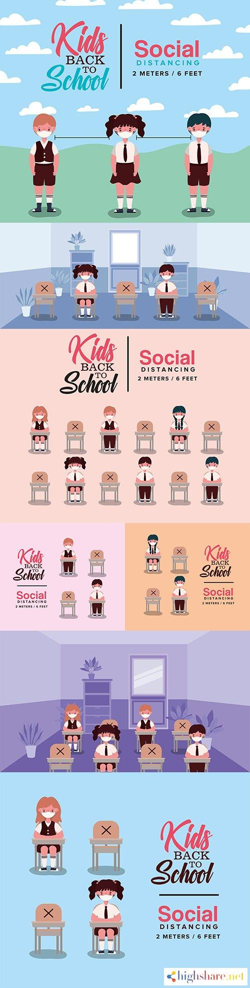 school children at desks with medical masks and 2 meters distance 5f40003f1a208 - School children at desks with medical masks and 2 meters distance