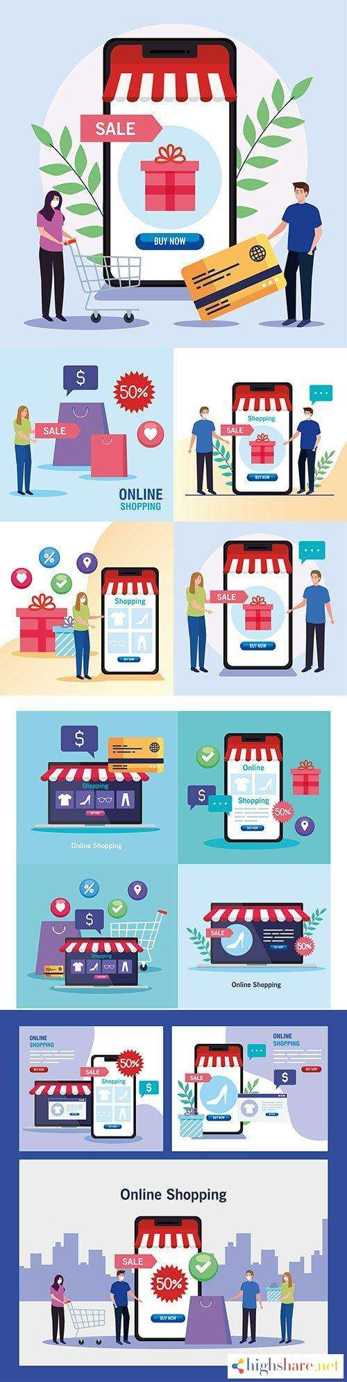 shopping online e commerce market and retail illustration 5f4281d08a559 - Shopping online e-commerce market and retail illustration