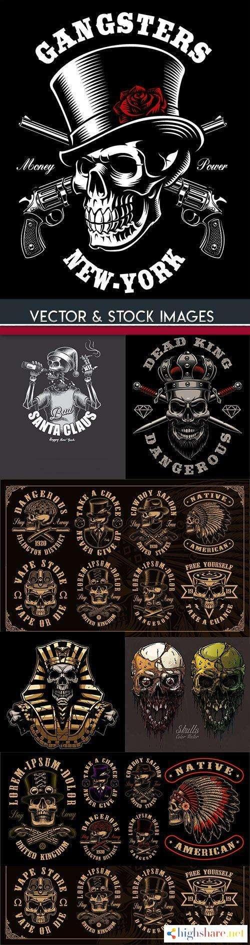 skull and accessories grunge label drawn design 7 5f4270ad35b6e - Skull and accessories grunge label drawn design 7