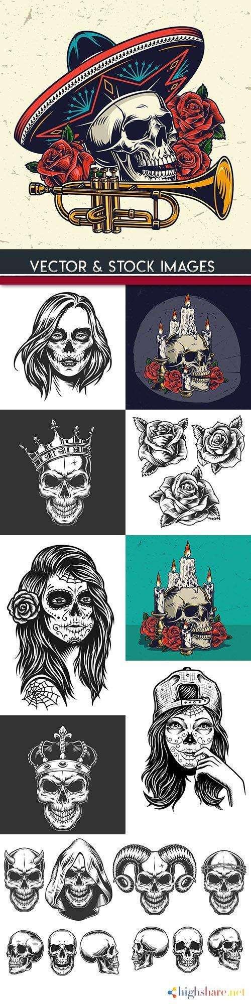skull and dead head tattoo grunge illustration 5f4271afeab3d - Skull and dead head tattoo grunge illustration
