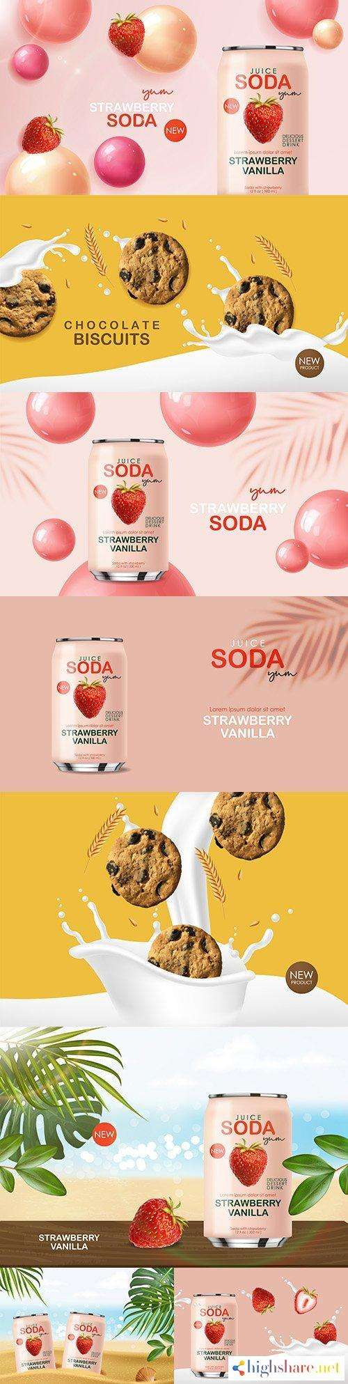 soda drink with fruit and chocolate cookies 3d realistic design 5f4200133c103 - Soda drink with fruit and chocolate cookies 3d realistic design