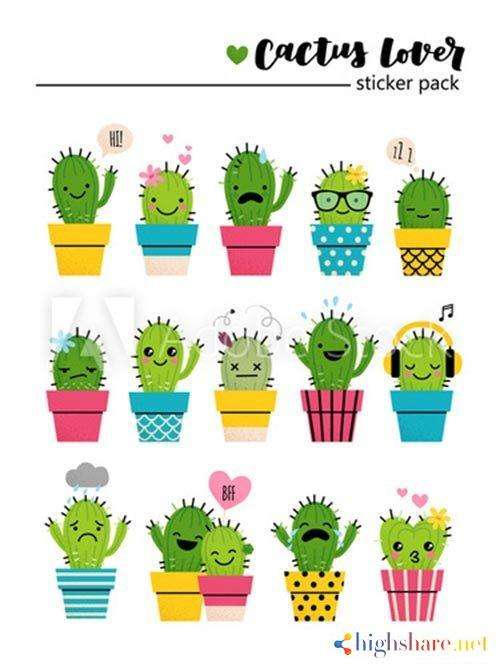 sticker pack with cute cactuses in bright colored pots vector 5f41e69a2f1c6 - Sticker pack with cute cactuses in bright colored pots vector