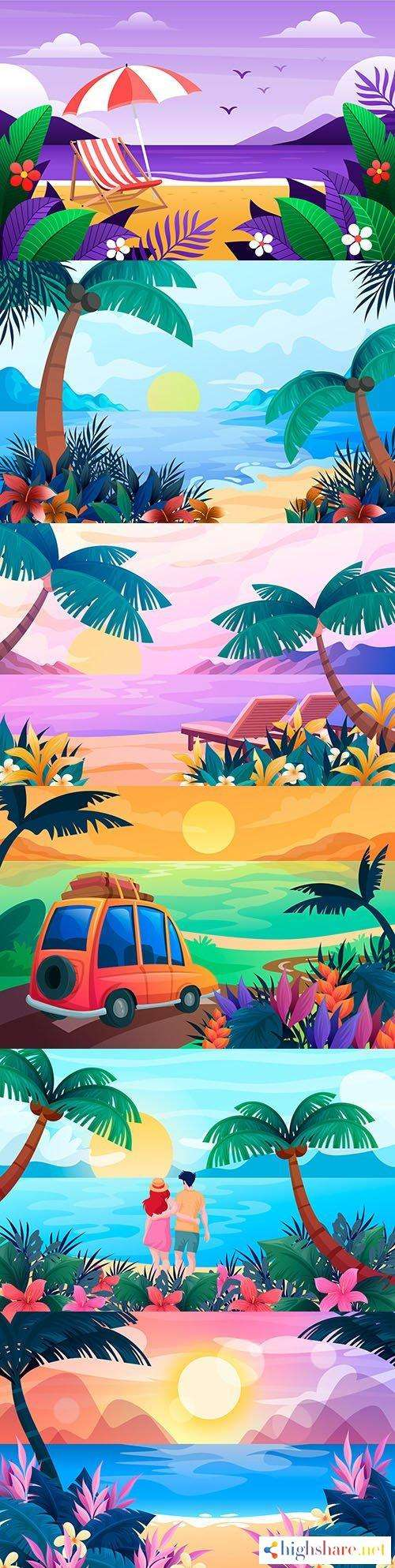 summer beach with tropical leaves and sunset background 5f45305ee9d4e - Summer beach with tropical leaves and sunset background