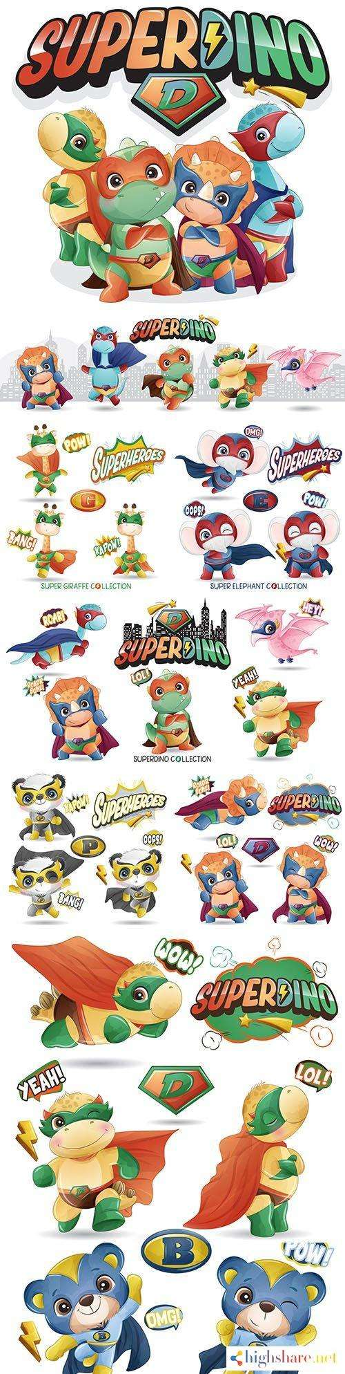super dinosaur and other heroes funny cartoon illustration 5f412e77d891f - Super dinosaur and other heroes funny cartoon illustration