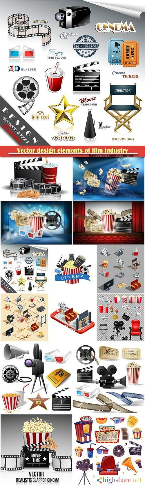 vector design elements of film industry popcorn reel tape glasses camcorder movie tickets and clapper board 5f40c8c98711d - Vector design elements of film industry, popcorn, reel, tape, glasses, camcorder, movie tickets and clapper board
