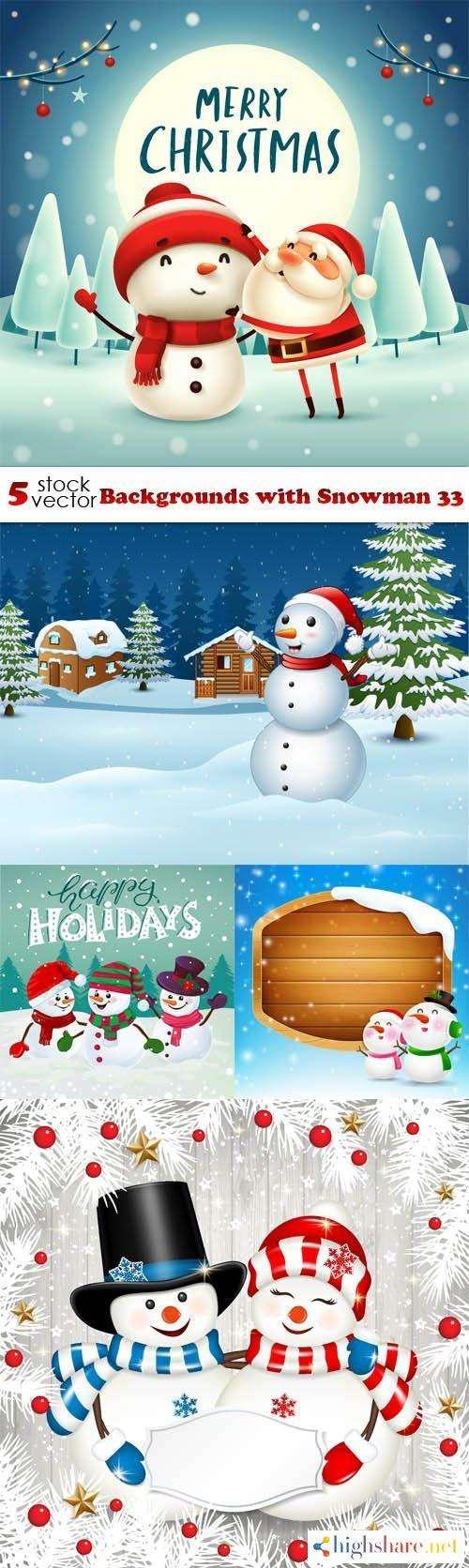 vectors backgrounds with snowman 33 5f439dcc38b08 - Vectors - Backgrounds with Snowman 33