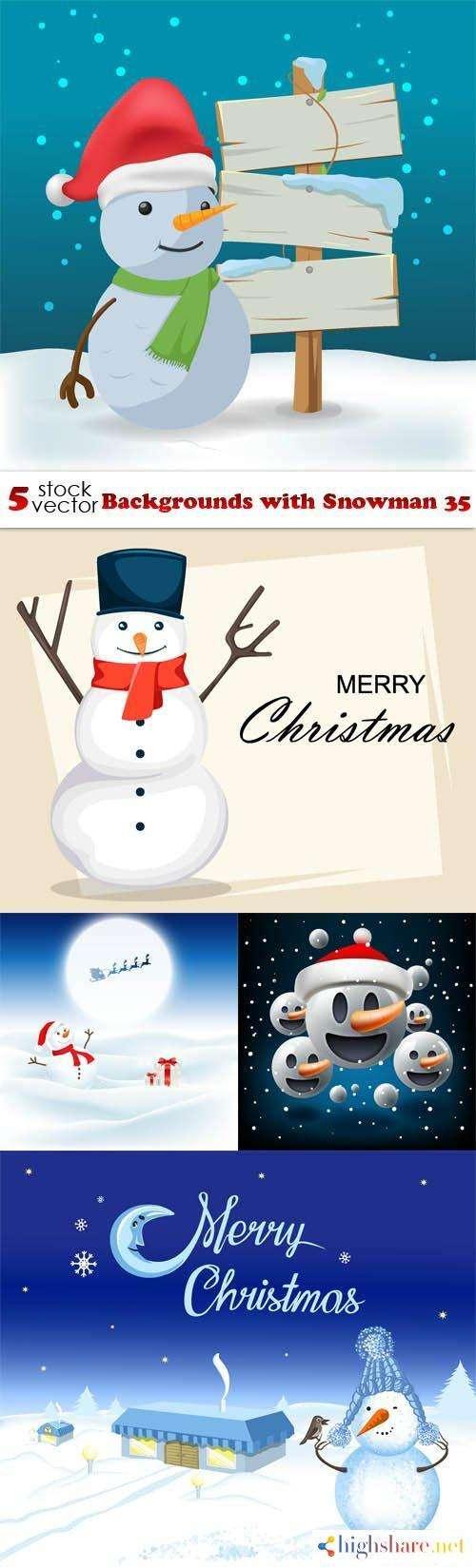 vectors backgrounds with snowman 35 5f439d376dd8f - Vectors - Backgrounds with Snowman 35