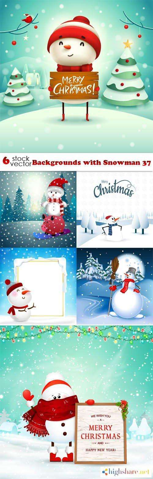 vectors backgrounds with snowman 37 5f439cec73f4a - Vectors - Backgrounds with Snowman 37