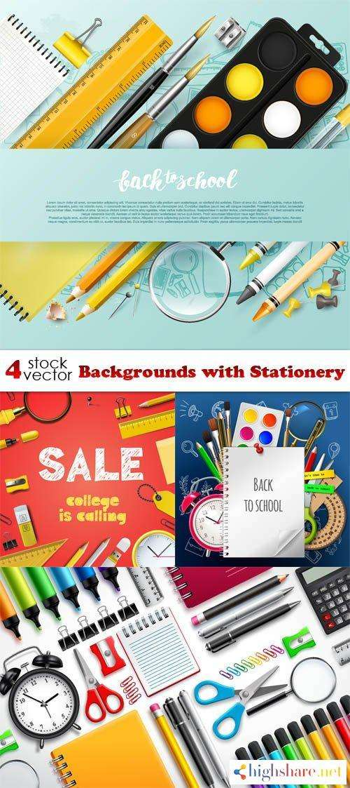 vectors backgrounds with stationery 5f4201f1c0107 - Vectors - Backgrounds with Stationery