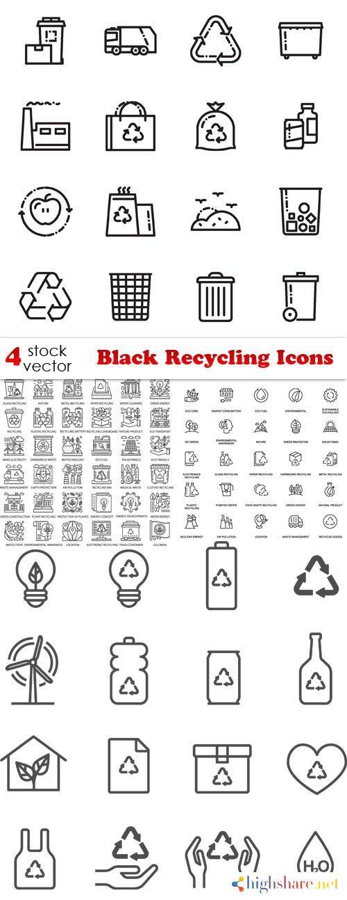 vectors black recycling icons 5f3fc959c2f9a - Vectors - Black Recycling Icons