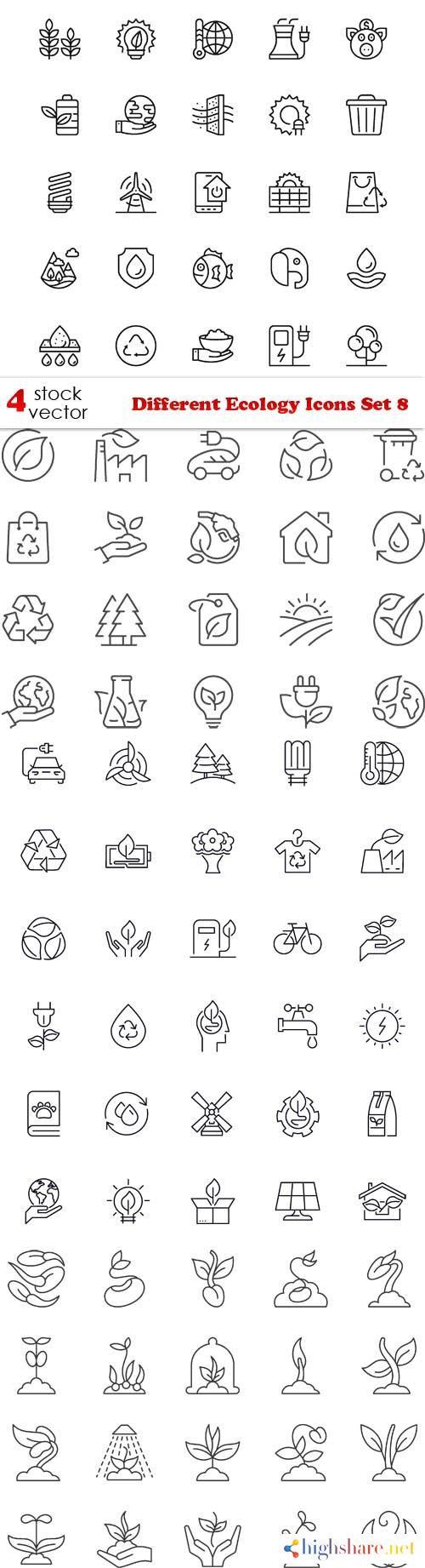 vectors different ecology icons set 8 5f3fc8cfb4411 - Vectors - Different Ecology Icons Set 8