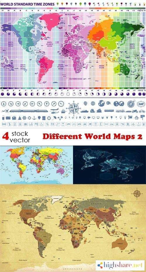 vectors different world maps 2 5f41e0862a427 - Vectors - Different World Maps 2