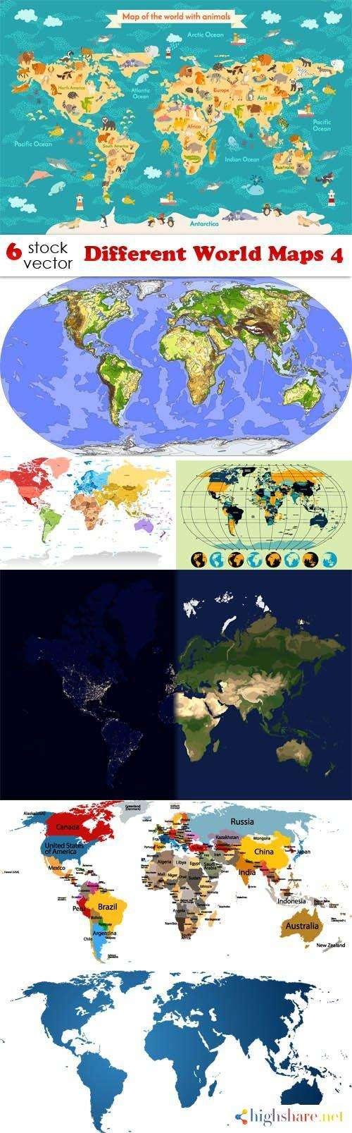 vectors different world maps 4 5f41dff535f4a - Vectors - Different World Maps 4