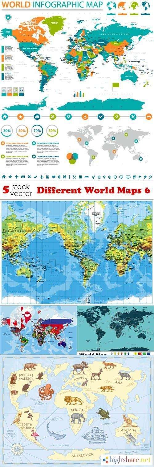vectors different world maps 6 5f41dfacb4759 - Vectors - Different World Maps 6